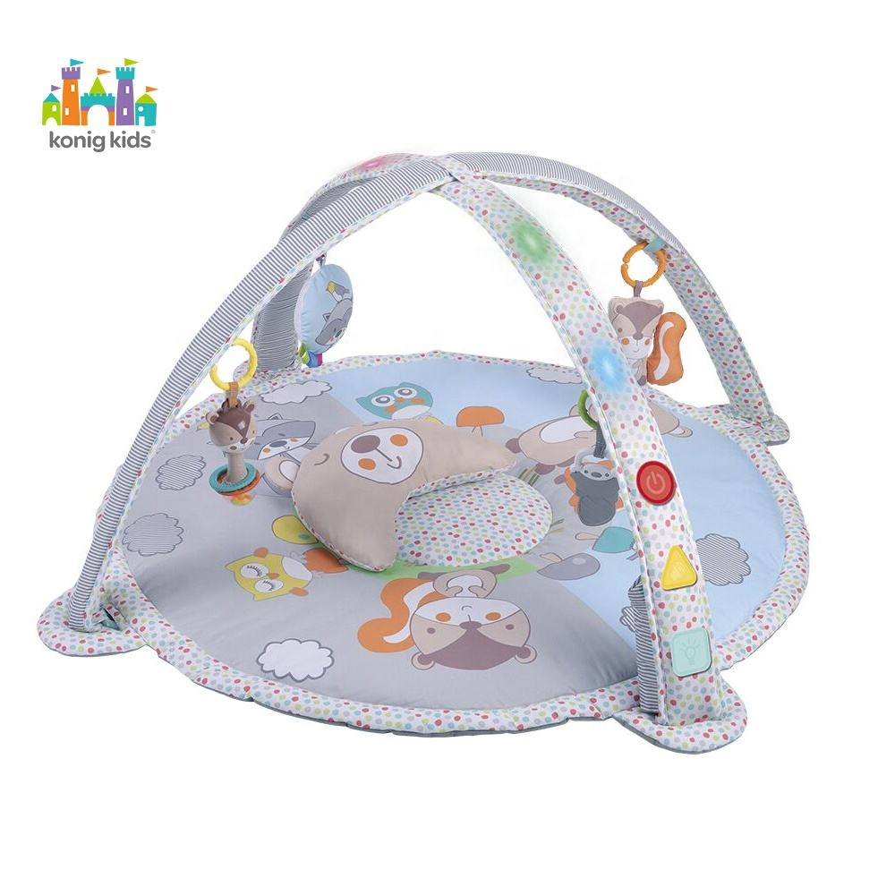 Konig Kids Baby Products Round Infant Crawling Floor Carpet Baby Play Mat With Lights