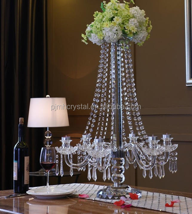 wedding crystal candelabra with flower stand MH-ZT074