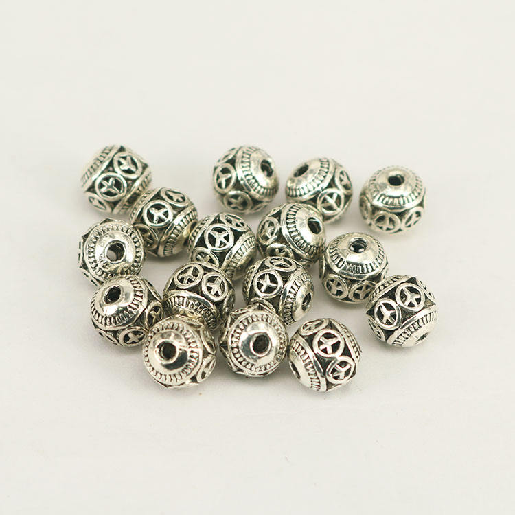 JS1346 Wholesale antique sliver round peace sign spacer beads, Ancient silver supplies metal ball beads
