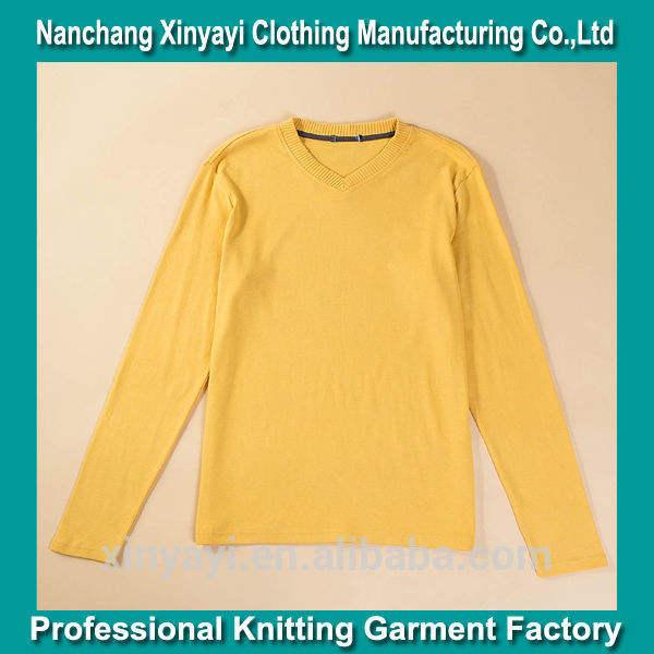 Amarillo nueva v- cuello camiseta manga larga diseño/ropa al por mayor de <span class=keywords><strong>las</strong></span> fábricas en china
