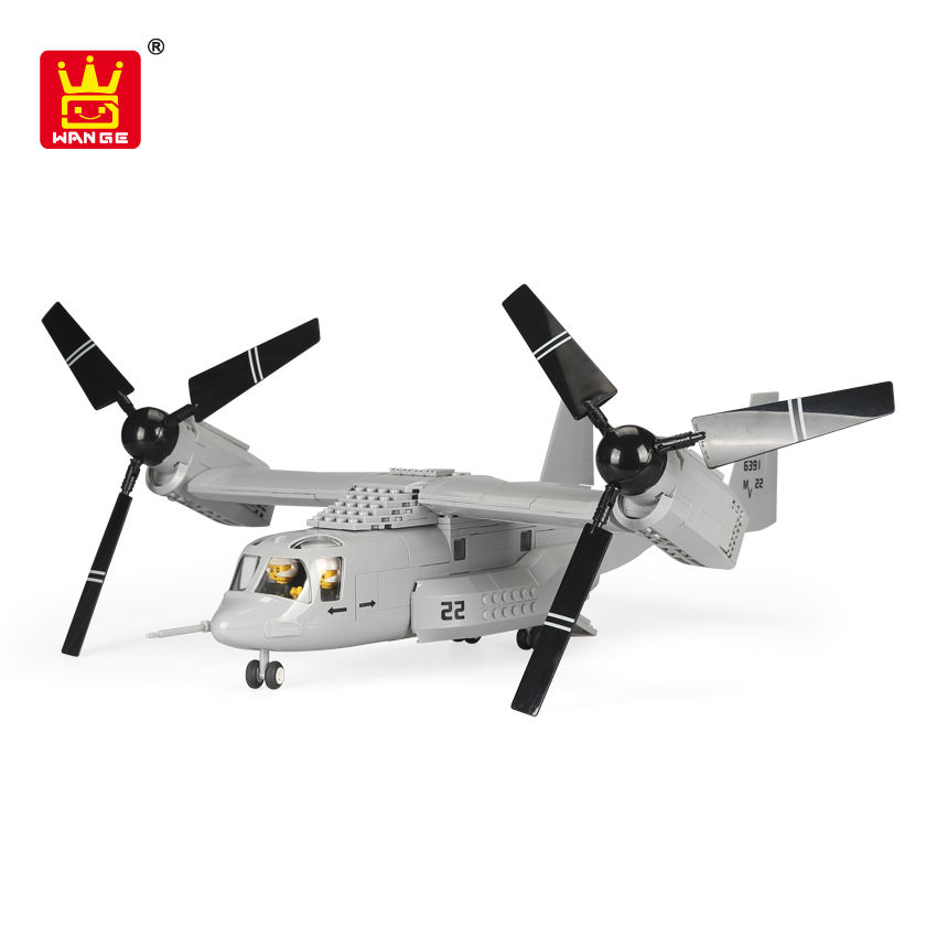 Wange Chenghai Toys Buling Block Helicopter Toys Aircraft Model V - 22 Osprey Aircraft Plastic Toys For Children