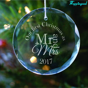 Our First Christmas As Mr And Mrs Glass Hanging Ornament For Wedding Gift