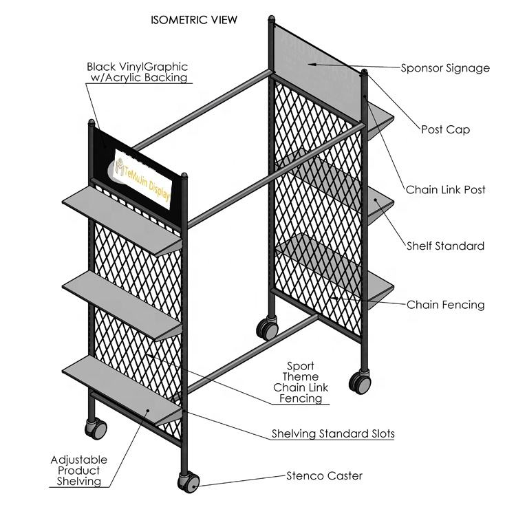 Custom Design Metal Shelf Commercial Adjustable Retail Shoe Rack Display