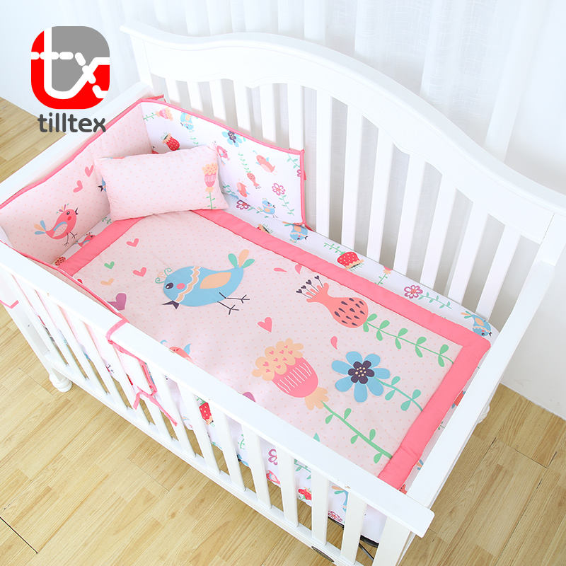 Multicolor cartoon bird and flowers printing nursery bedding set baby