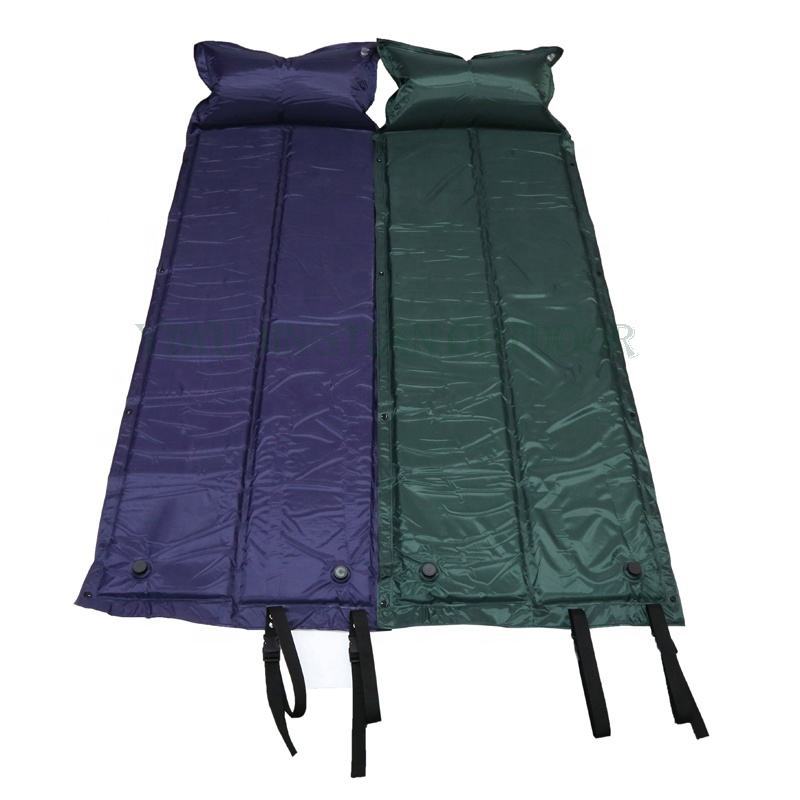 D8510 Wholesale Portable Folding Double Spliced self inflatable Camping Air sleeping pad with Pillow