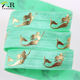 wholesale gold foil mermaid printed fold over elastic ribbon