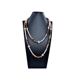 Pink and white pearl necklace designs with multi stone gemstone bead necklace jewelry