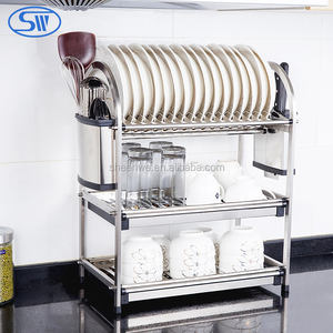 Wholesale Guangzhou Table-style 3 tier stainless steel dish rack