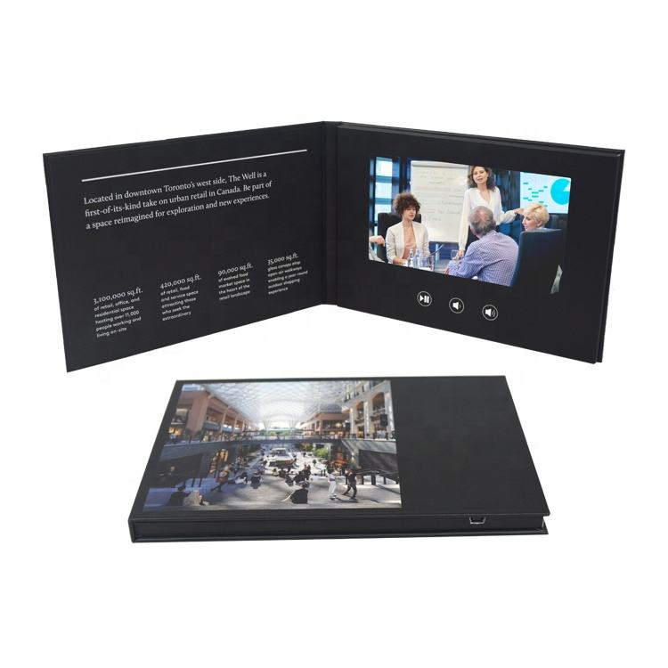 Customized High Resolution 7 Inch Video Book, Video Booklet, Lcd Screen Video Brochure Card