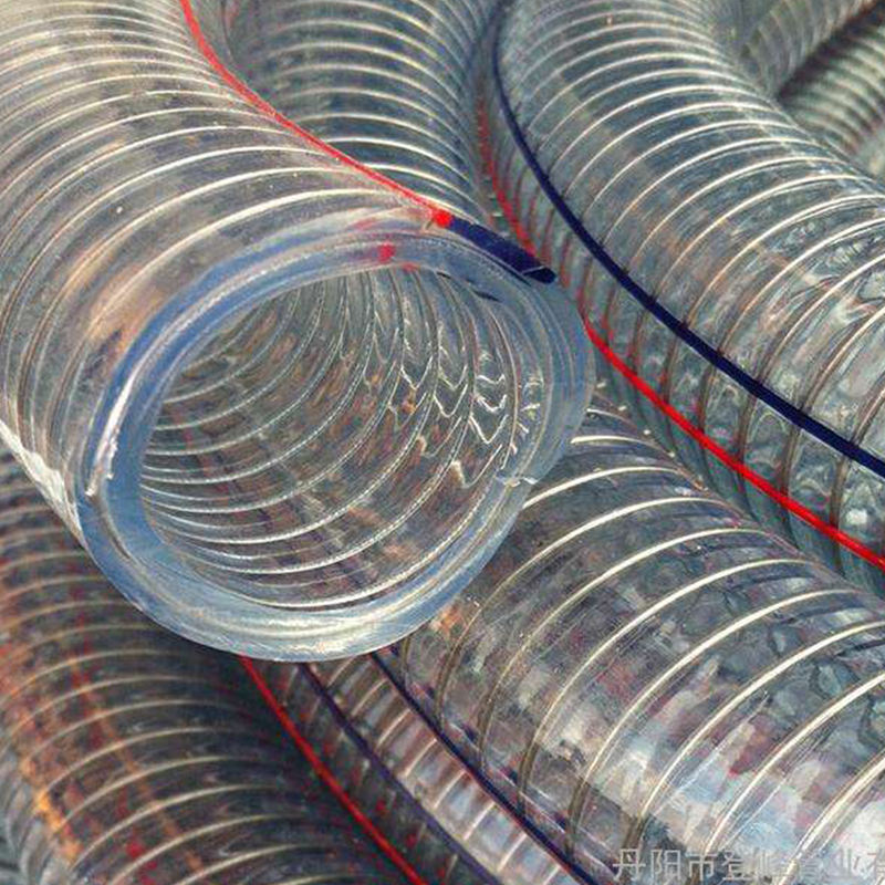 transparent PVC coated flexible wire steel hose /discharge water hose/ steel wire reinforced spring pvc hose pipe