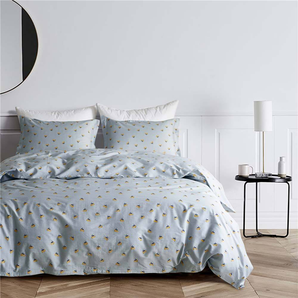 White Sateen Fabric Bed Linen Feather Printed Set Silk 100% Cotton Bedding