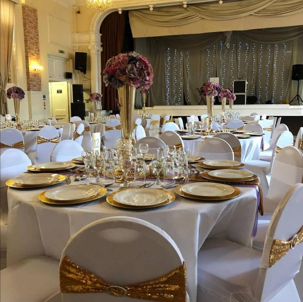 Elastic Lycra chair bands elastic Banquet party home wedding gold spandex sequin chair sashes with buckle