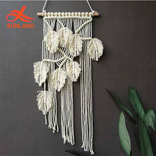 W1583 Handmade Tapestry Home Decor Woven Macrame Leaves Design Wall Hanging