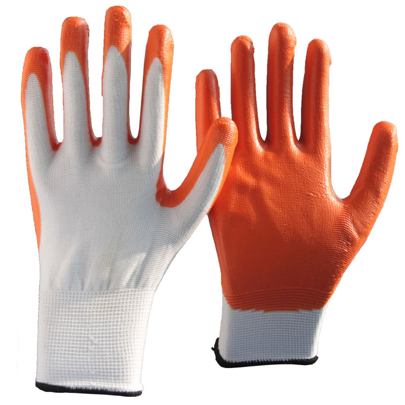 NMSHIELD nitriled palm dipped glove working gloves knitted coated rubber gloves for construction