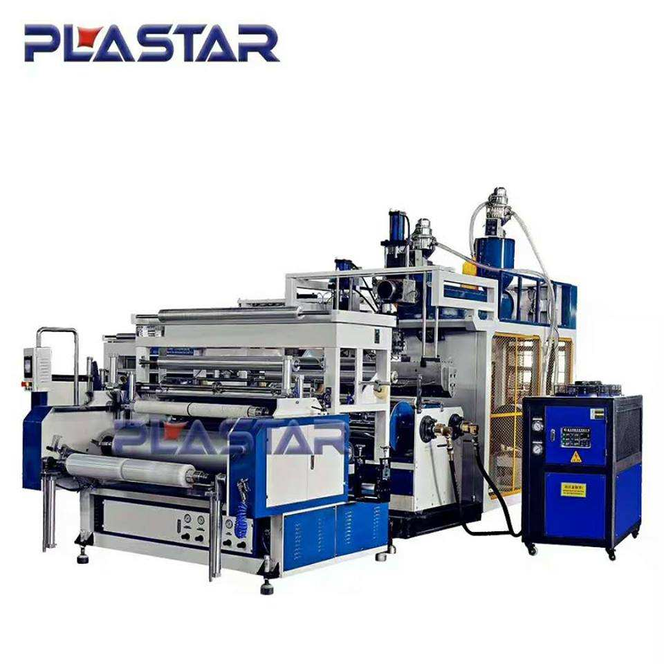 Kualitas Tinggi Pe Stretch Film Ditiup Mesin Extruder Plastik Lldpe Film Blowing Machine