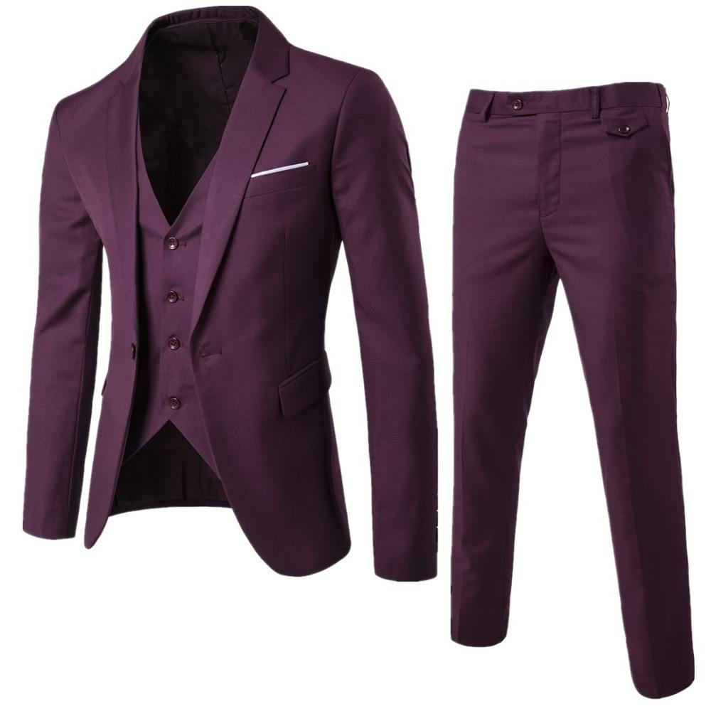 Men solid color three piece dress Slim Business occupation wedding suit Jackets Pants Vest