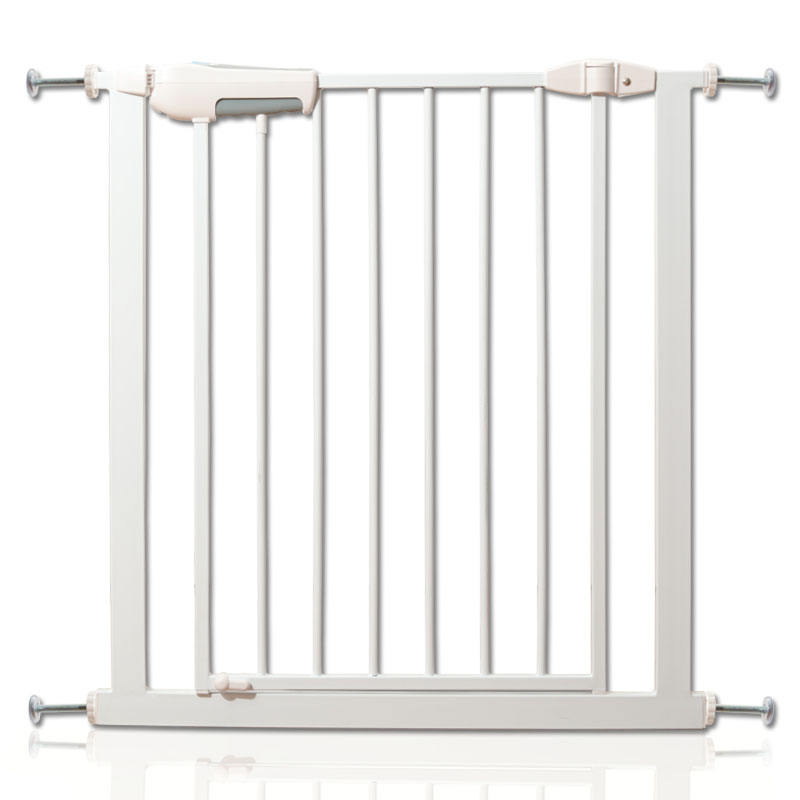 High Quality Manufacturer Pressure Mounted Gate Metal Door And Stairs Baby Safety Barrier Metal Pet Easy Step Walk Thru Gate
