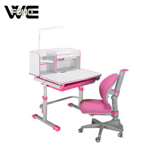 Children Desk and Chair Small Luxury Writing Learning Kids Study Desk with Drawer with Led Light