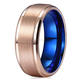 New Arrivals Jewelry Ring Designs 8mm Blue Rose Gold Plated Mens Tungsten Wedding Bands