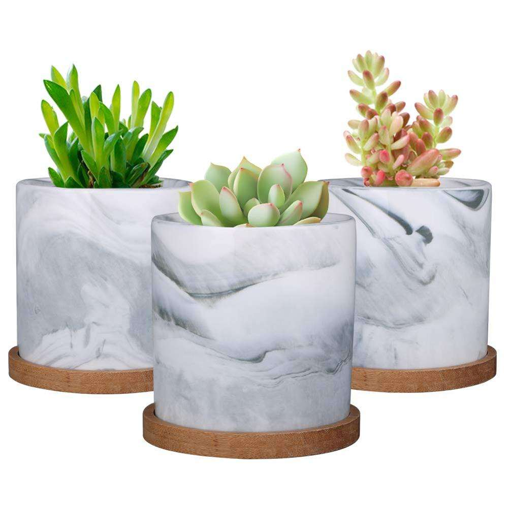 4'' Marble Ceramic Succulent Planter Pot Indoor Modern Cactus Herb Flower Planters with Bamboo Tray Set of 3