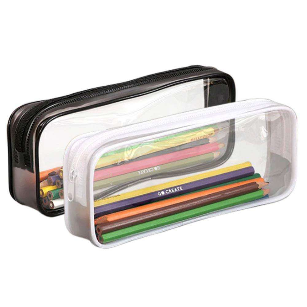 Clear Pencil Case /Transparent PVC Big Capacity Pencil Pouch/ Pen Bag Cosmetic Pouch with Zipper for School Office