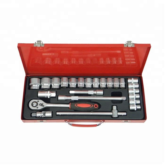 24 Pcs ratchet handle Socket set /car repair tool kit metal box tool set
