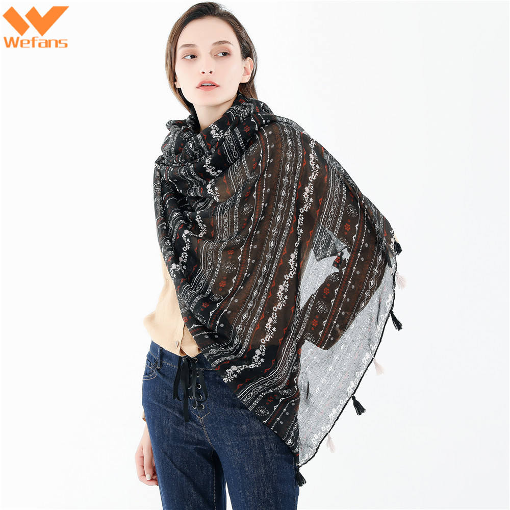 Wefans Fashion new European and American style geometric solid color tassel thin plain cotton arte cashmere scarf long