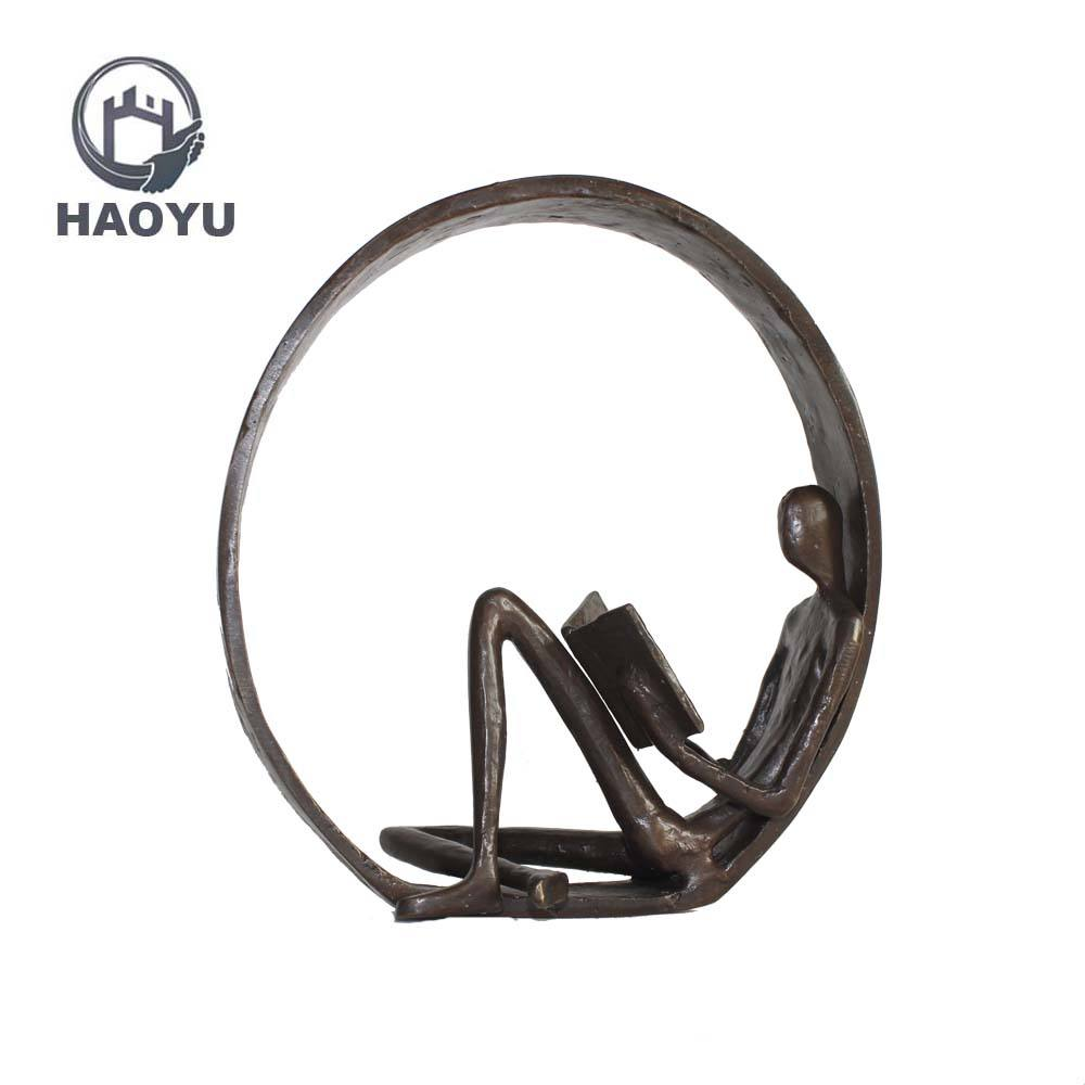 Novel design famous abstract metal arts and crafts cast iron reading sculptures home decor