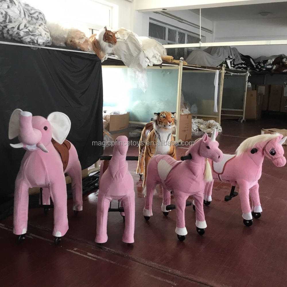 (EN71&ASTM&CE)~(Pass!!)~ Dalian Amusement plush horse ride-on/Walking animals horse ride on toy /UP-8 Pink unicorn/Magicprince