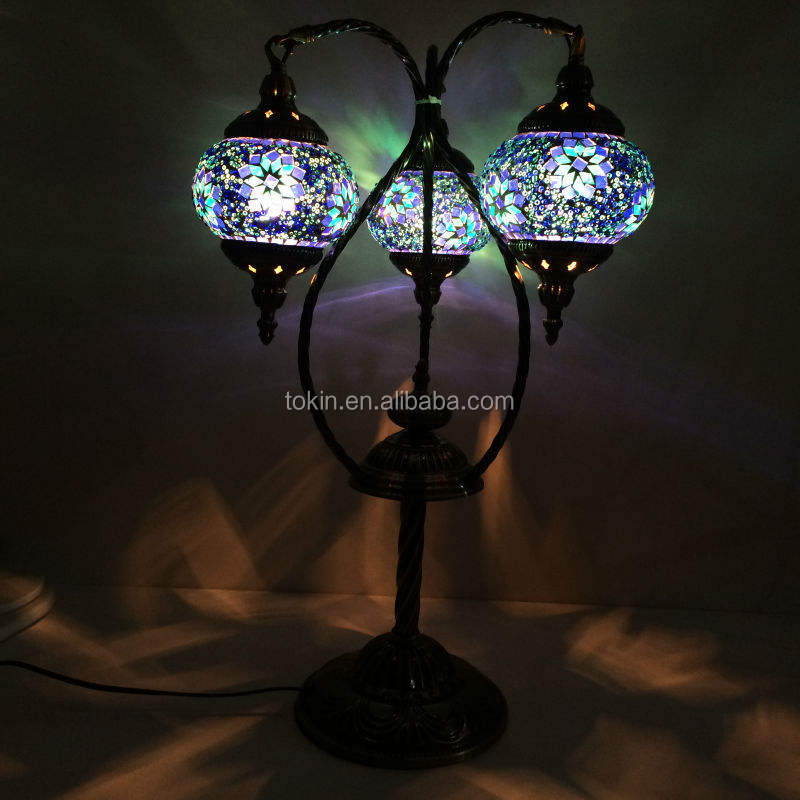 2015 NewDesign (TP3M02) glass material Handmade Mosaic Art Turkish ottoman table Lamps