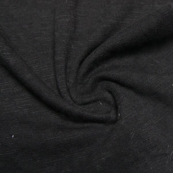 High quality black 32S slub yarn dyed 100 cotton single jersey knitted fabric for underclothes