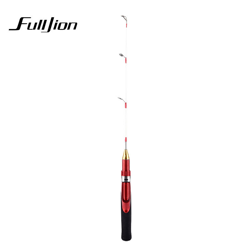 Fulljion Ice Fishing Rod Winter Solid 2 Sections Metal Shrimp Pole Fiberglass Fishing Rods Fishing Tackle