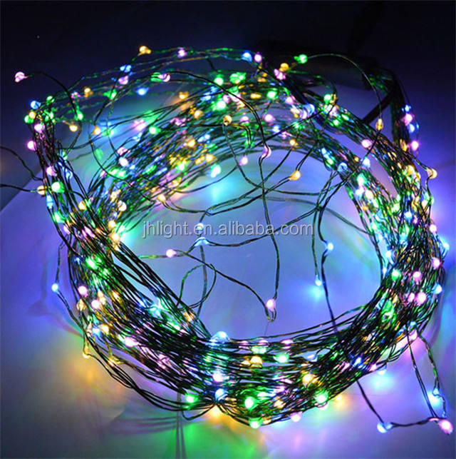 Fancy Starry Drew Drop 33ft 10 M 100 Leds Led Tembaga String Natal Multi Warna Beras LED Kawat Tembaga String cahaya