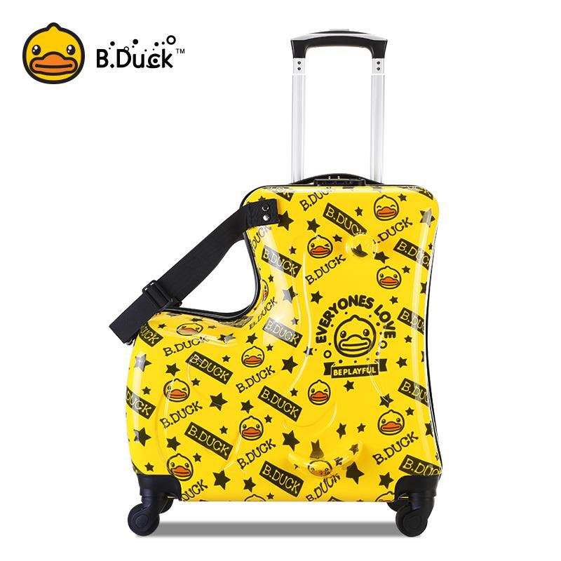 2019 New Design Yellow Duck Kids Travel Trolley Case Carry-On Luggage,Hand Trolley Suitcase