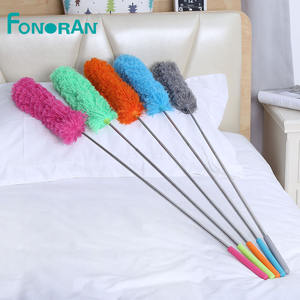 Flexible bendable long handle telescopic extendable microfiber duster