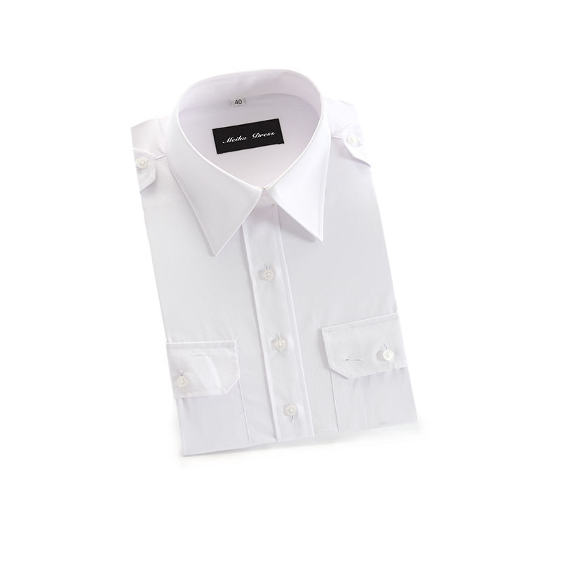 Latest Design Long Sleeve White Formal Men Office Man 100% Cotton Uniform Pilot Shirt