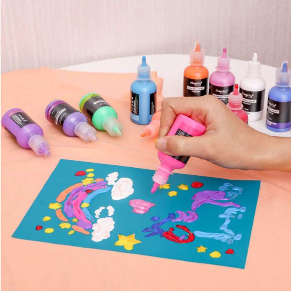 Puffy Paints Permanent Textile Paint with Fluorescent, for Clothing,T-Shirts, Glass and Wood
