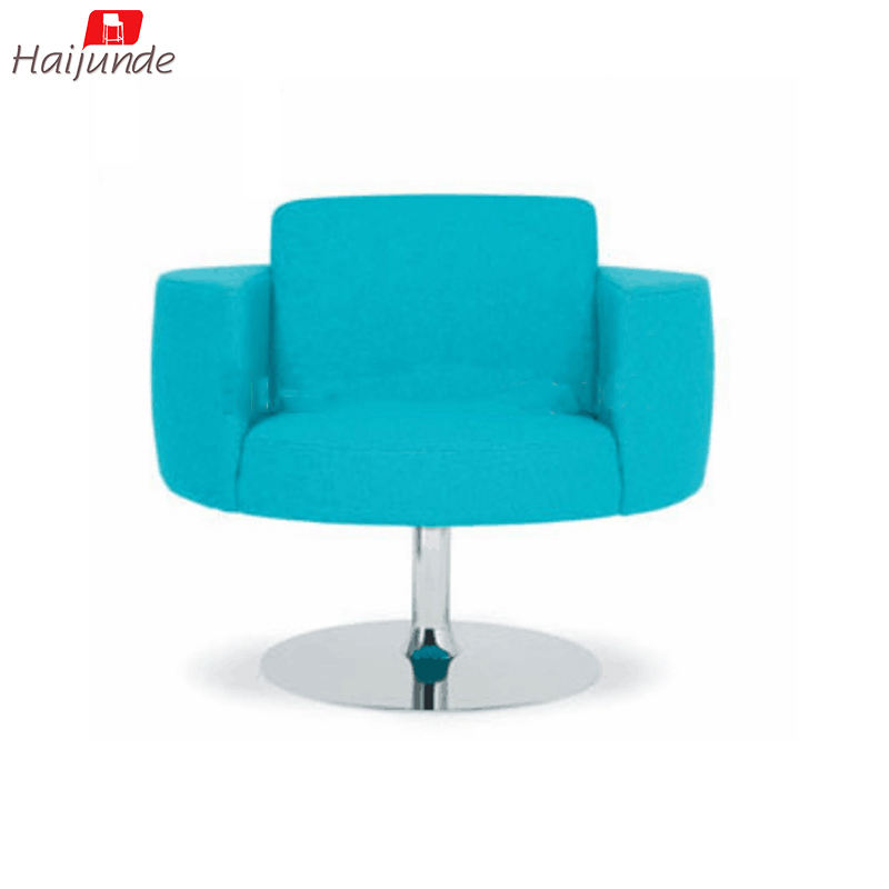 teal color arms chair fabric cover swivel available for living room / computer room