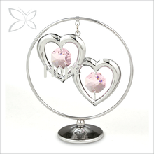 Crystocraft Chrome Plated Crystal Double Heart Dangling Metal Figurine Wedding favor for Guest