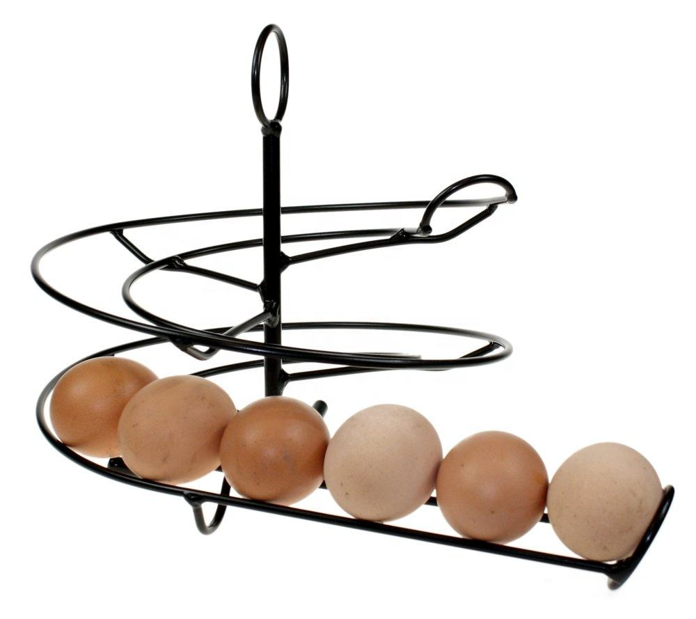 Kitchen Iron Egg Skelter Storage Organizer Rack Metal Spiral Egg Holder Stand
