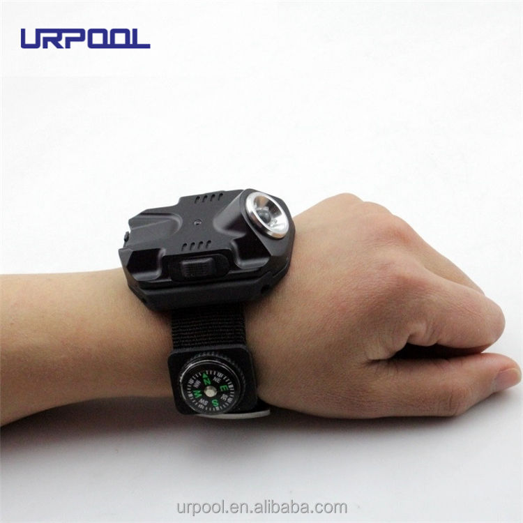 ABS Q5 LED Wrist Watch rechargeable Flashlight 450lm Torch USB Charging Wrist Model Tactical Flashlight