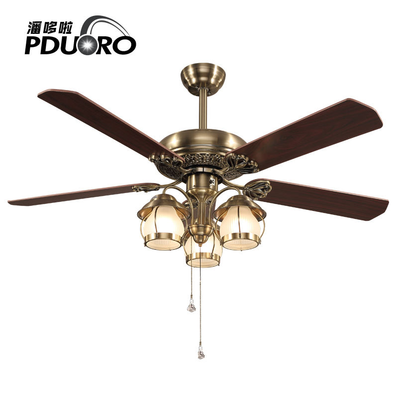Energy saving antique brass color plywood E27 classical ceiling fan light with 3-speed control pull chain