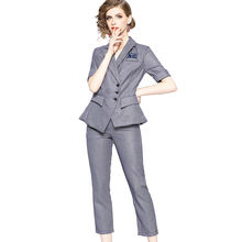 Already Made New Arrival Women Fashion Office Lady Houndstooth Short Sleeve Blazer and Pants Suits Set