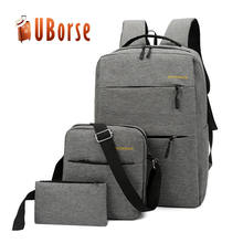 Custom High Quality Oxford Rucksack USB Charger Bag 3pcs School Backpack Sets With OEM Logo