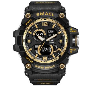 Multifunction Sport Men Wrist Watch Smael 1617 Army Military Big Dial Dual Time Led Analog Clock Waterproof Digital Quartz Watch
