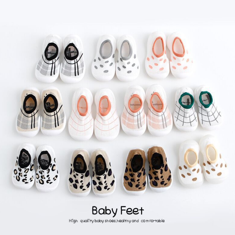 Hot sale rubber soles shoes non slip floor leopard print baby socks