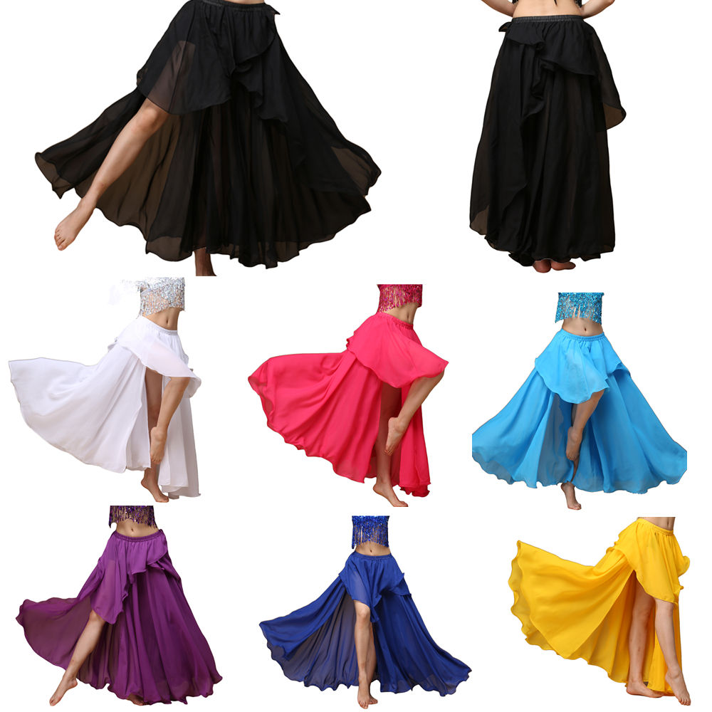 BestDance Arabic Belly Dancer Dancing Costume Slit Skirt Tribal Chiffon Layers Skirt Carnival