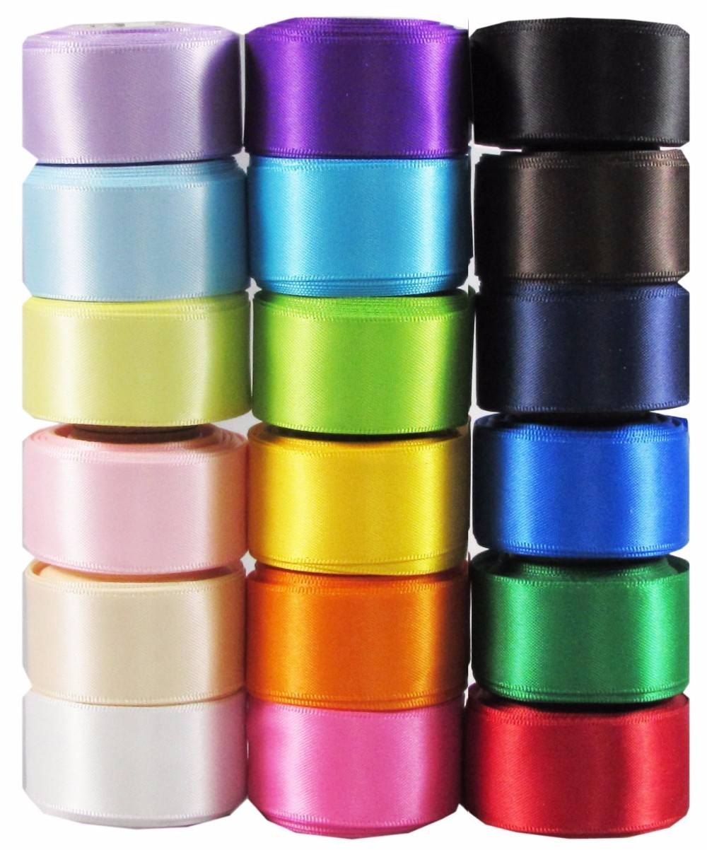 YAMA wholesale large stocked polyester solid colors single faced satin ribbon