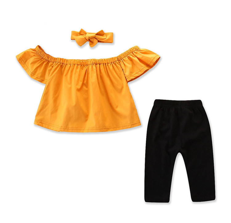 1-6 Years Baby Girl Set Top and Pants Fashion Girls Clothes One Shoulder Two Piece Wear with Short Sleeves Baby Girl Summer Sets