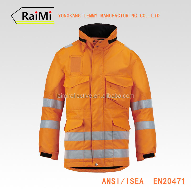 High Visibility Safety Orange Jackets Mens Winter Coats Reflective Rain Jacket Wholesale orange hi viz fleece jacket